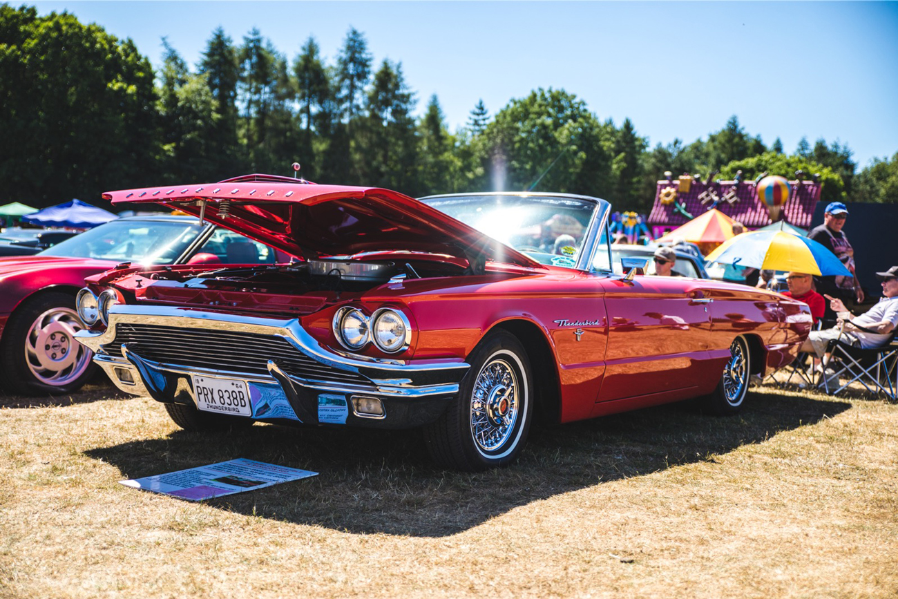 Red Ford Thunderbird with bonnet open