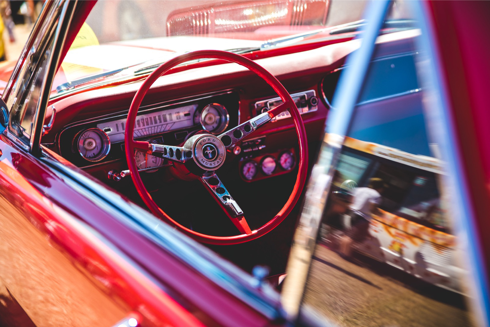 Interior view of a classic Ford Mustang