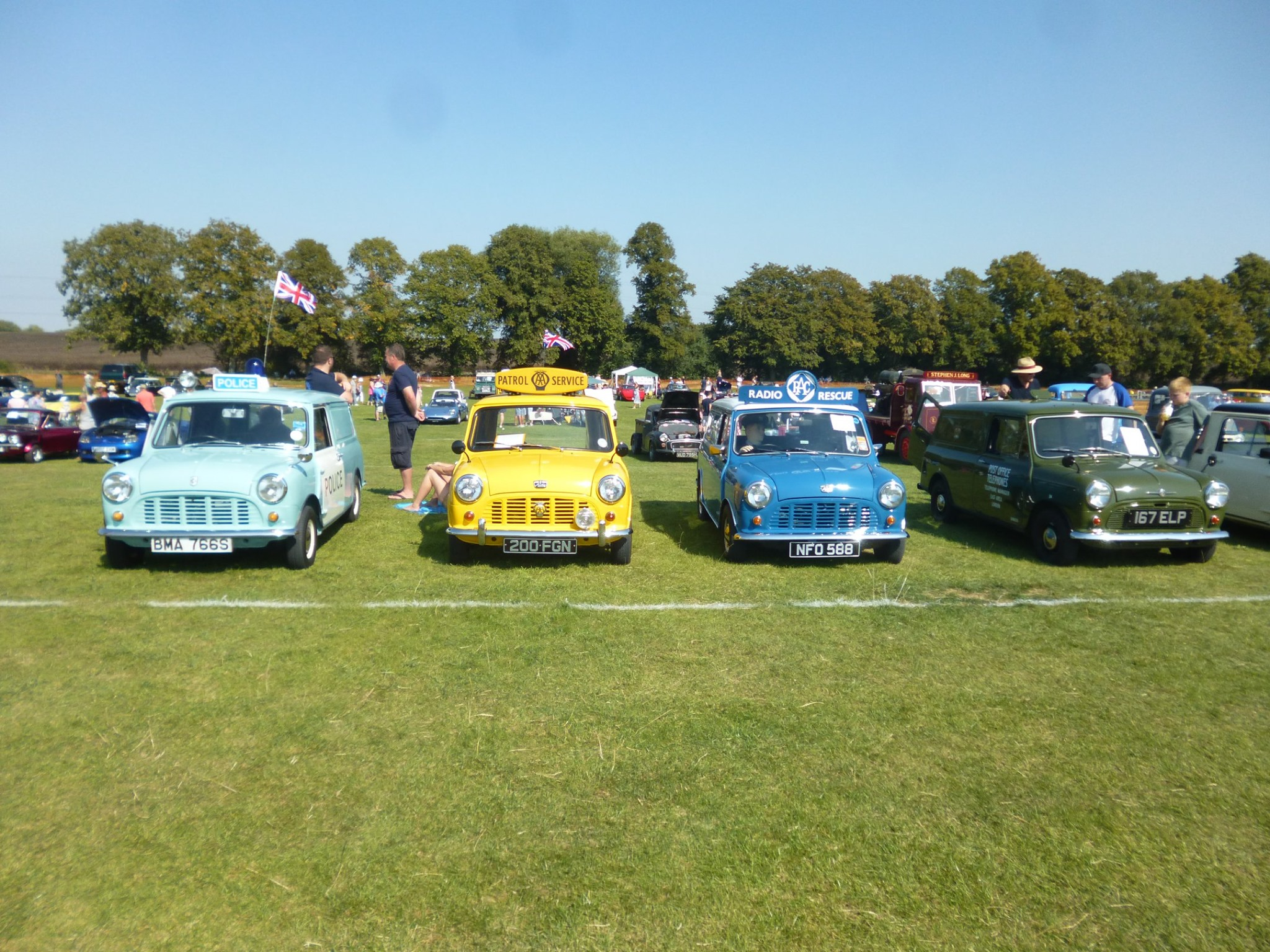 Varying minis lined up on the grass of the park with examples such as the police mini and radio rescue mini
