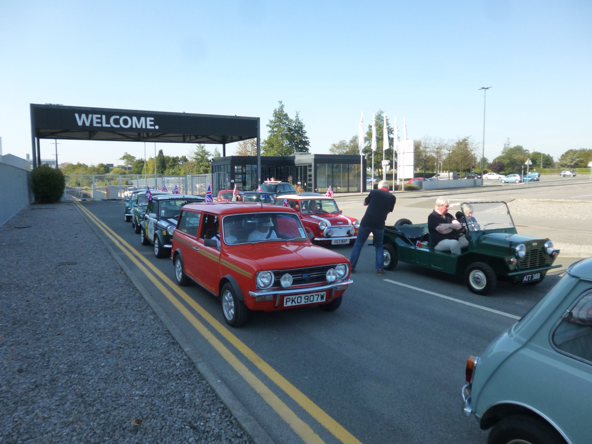 The Cavalcade lined up outside of the mini factory Oxford