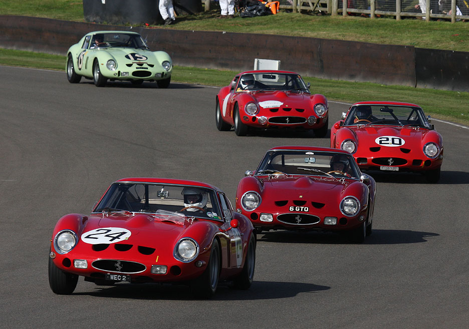 Four 250 GTO's at Goodwood Revival