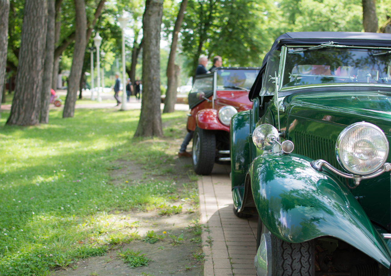 Two similar classic cars parked next to a park with the owners talking