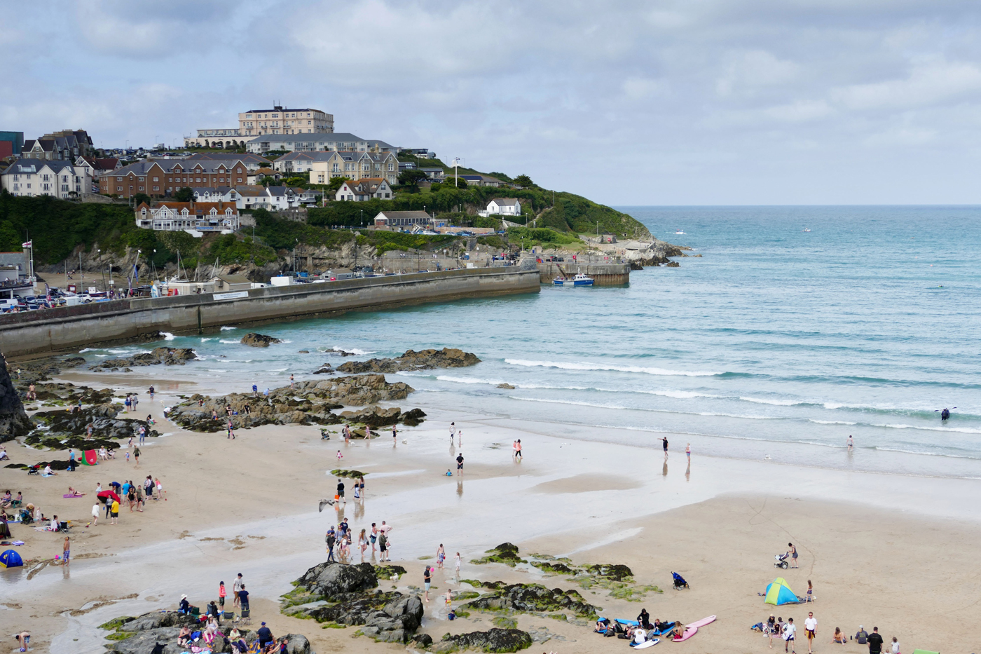 A busy beach in Newquay