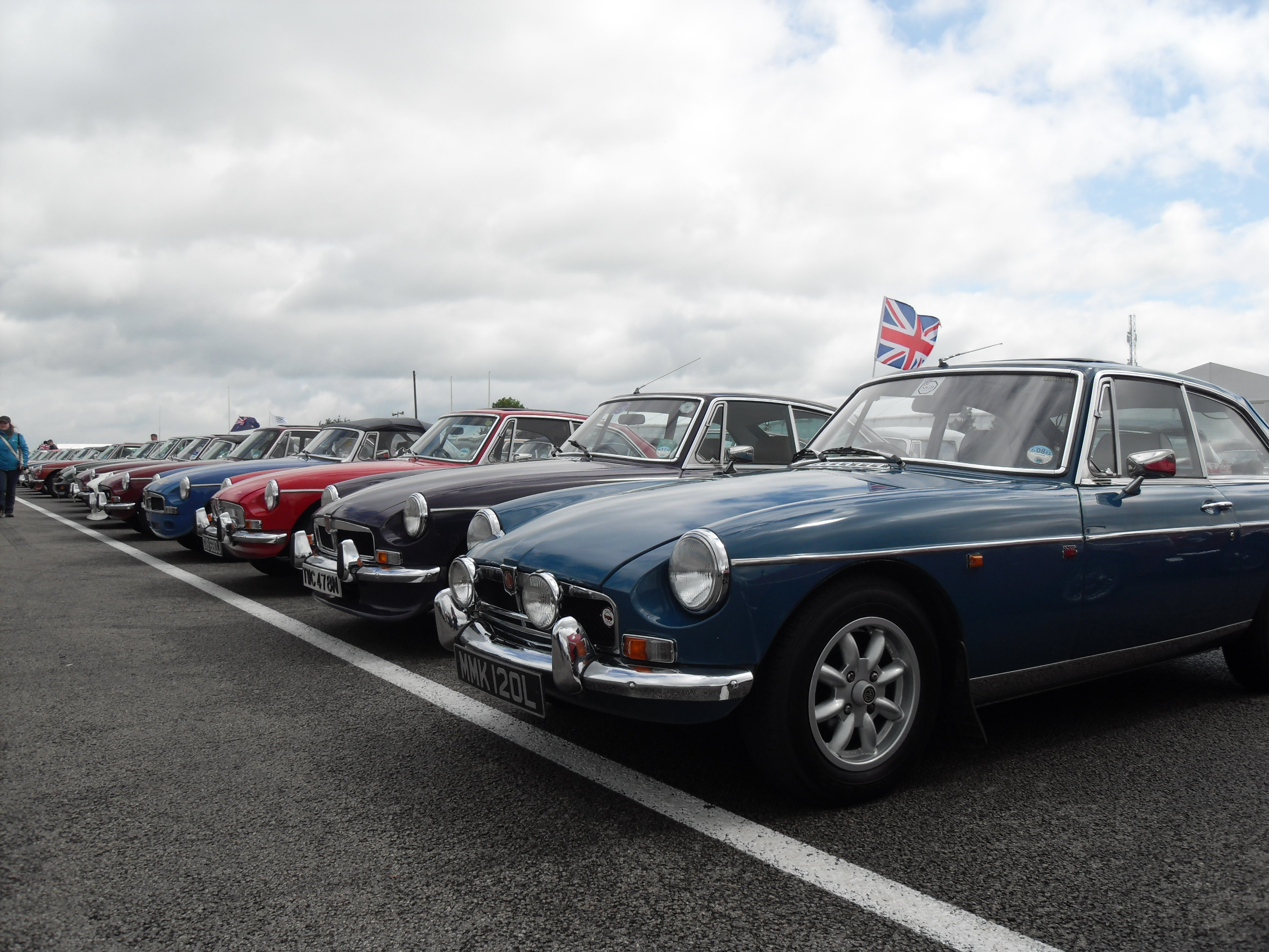 A line-up of MGB's parked at a classic motor show