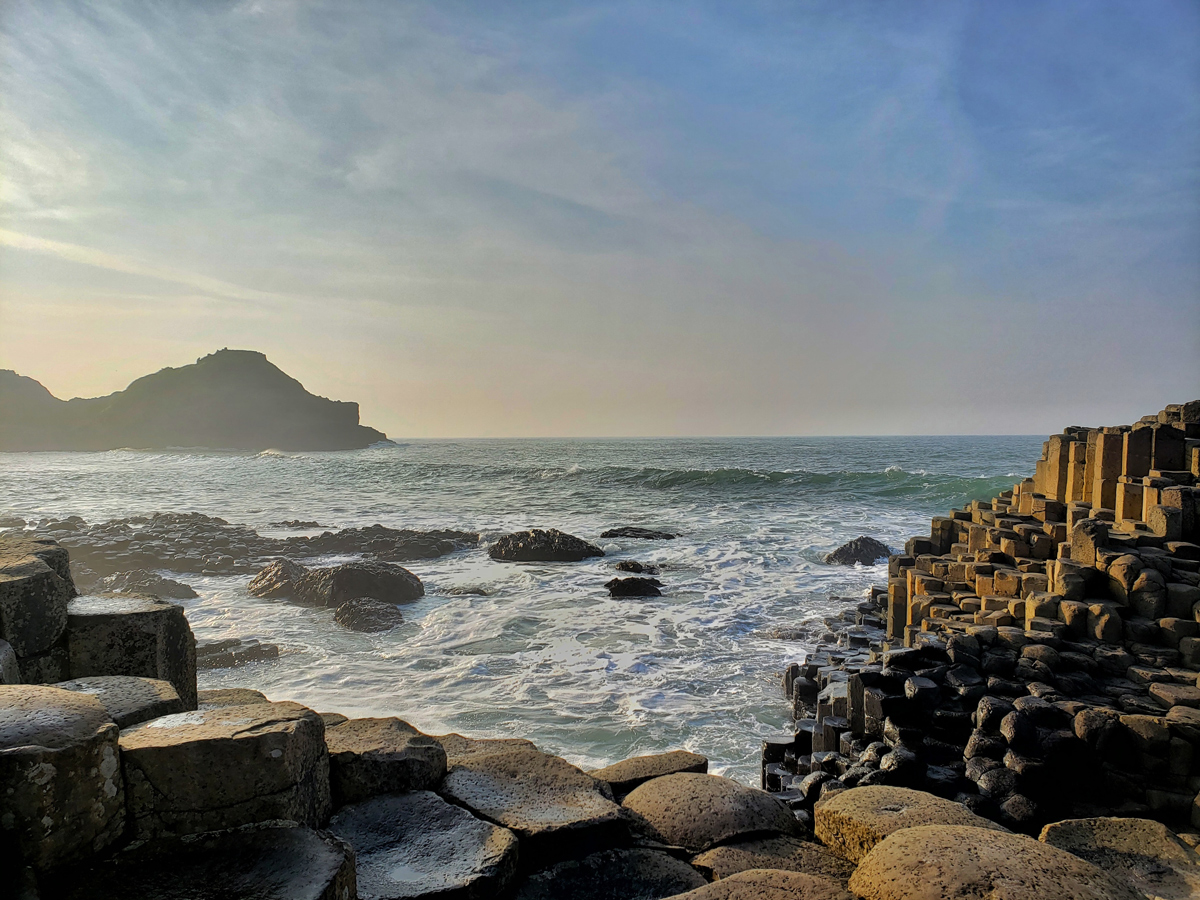 The geological hexagonal structures of the Giants Causeway in Northern Ireland